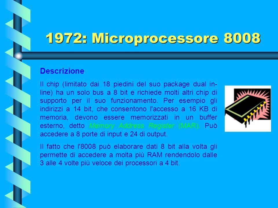 1972: Microprocessore 8008 Il neonato microprocessore 8008 con una velocità di 200 kHz e contenente 3500 transistors fu realizzato, nei laboratori del