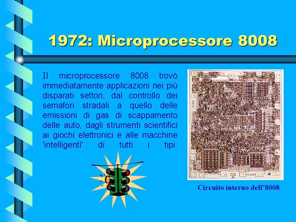 1972: Microprocessore 8008 Descrizione Il chip (limitato dai 18 piedini del suo package dual in- line) ha un solo bus a 8 bit e richiede molti altri c