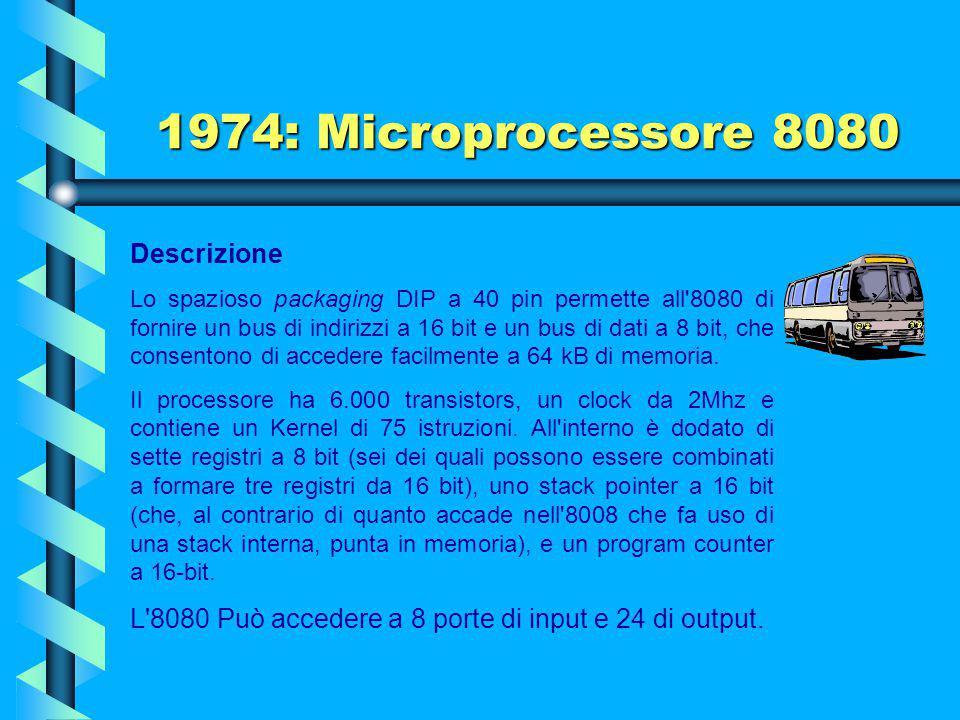 1974: Microprocessore 8080 Il microprocessore Intel 8080, progettato e prodotto dalla Intel, è il successore dell'Intel 8008 (con cui è compatibile a