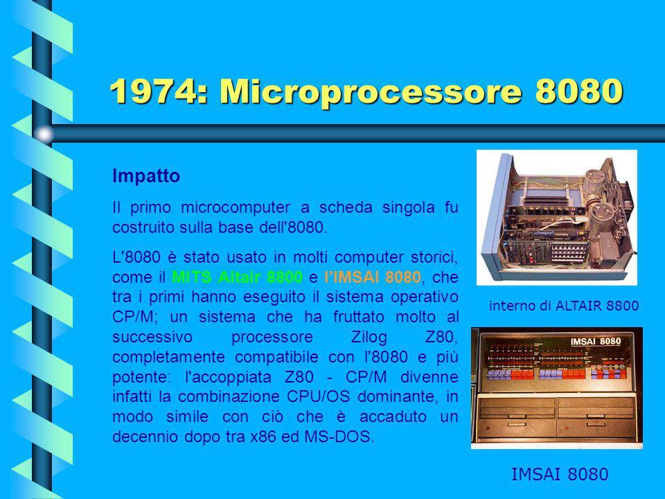 1974: Microprocessore 8080 Descrizione Lo spazioso packaging DIP a 40 pin permette all'8080 di fornire un bus di indirizzi a 16 bit e un bus di dati a