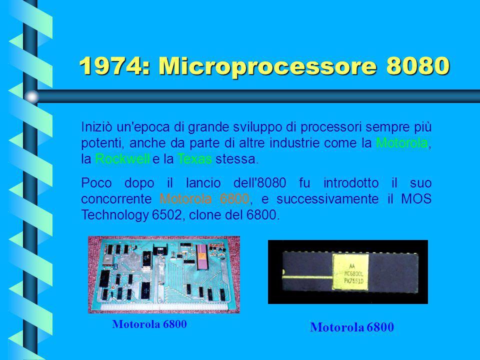 1974: Microprocessore 8080 Impatto Il primo microcomputer a scheda singola fu costruito sulla base dell'8080. L'8080 è stato usato in molti computer s
