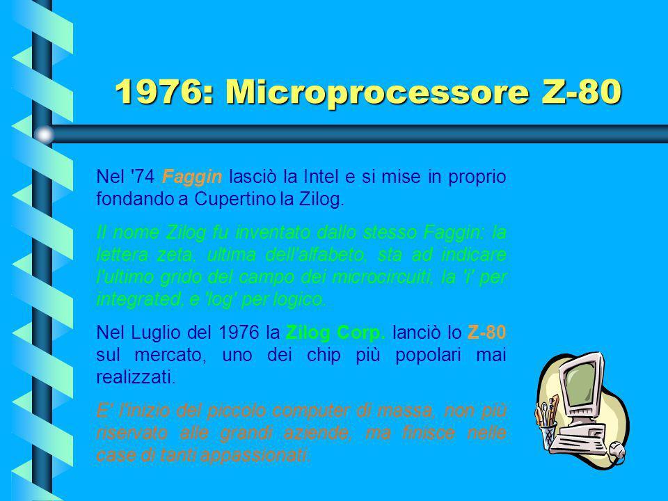 1974: Microprocessore 8080 Iniziò un'epoca di grande sviluppo di processori sempre più potenti, anche da parte di altre industrie come la Motorola, la