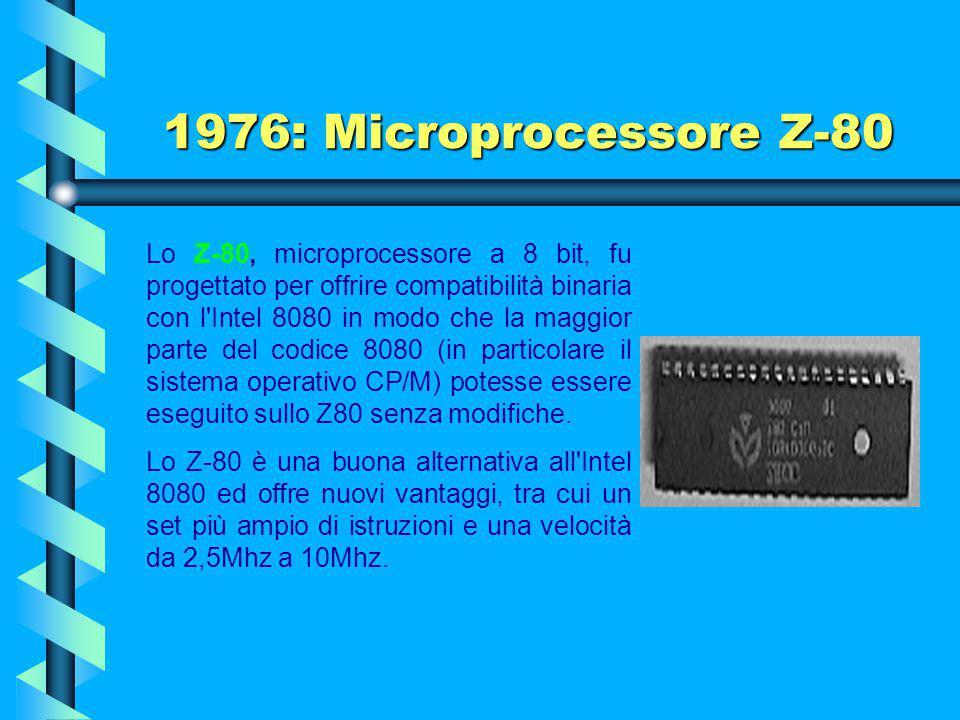 1976: Microprocessore Z-80 Nel '74 Faggin lasciò la Intel e si mise in proprio fondando a Cupertino la Zilog. Il nome Zilog fu inventato dallo stesso