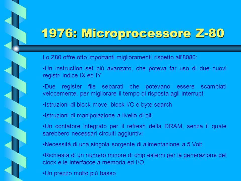 1976: Microprocessore Z-80 Lo Z-80, microprocessore a 8 bit, fu progettato per offrire compatibilità binaria con l'Intel 8080 in modo che la maggior p