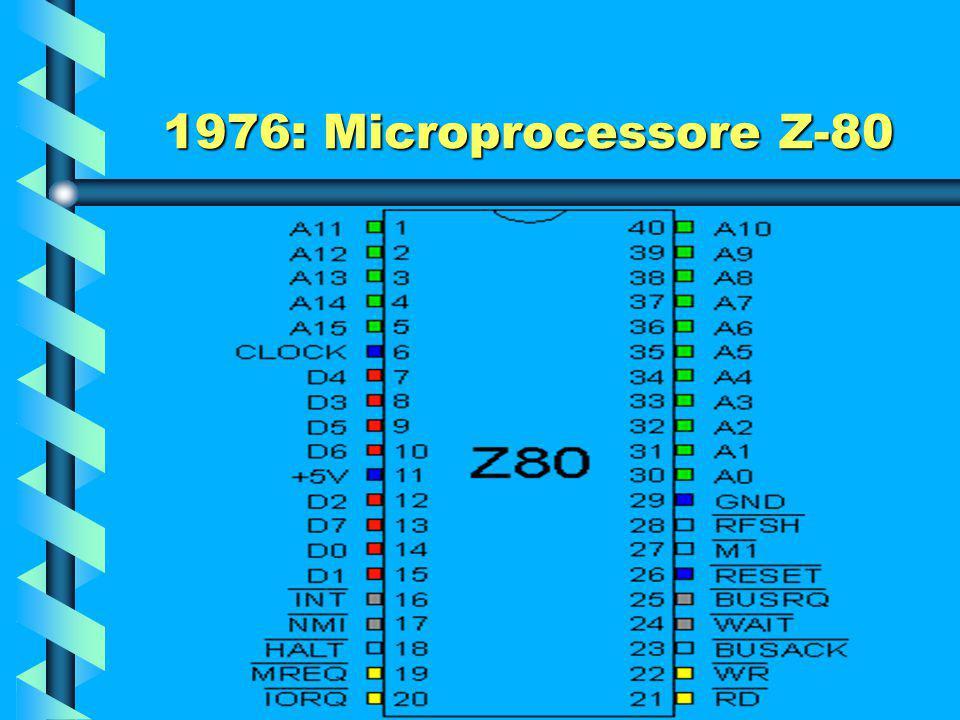 1976: Microprocessore Z-80 Lo Z80 offre otto importanti miglioramenti rispetto all'8080: Un instruction set più avanzato, che poteva far uso di due nu