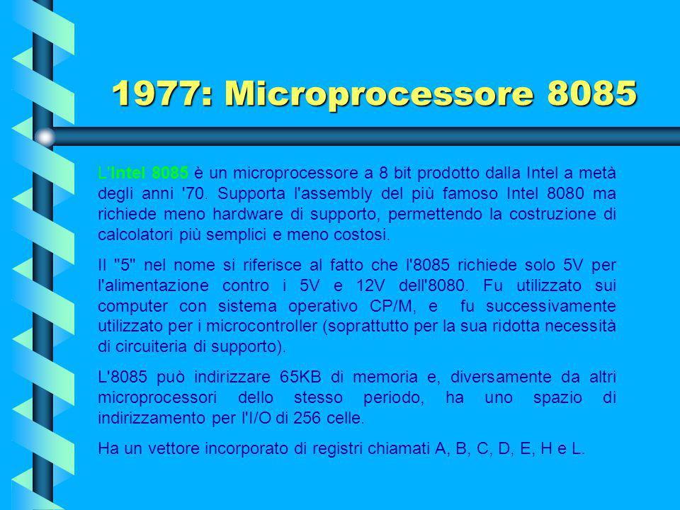 1976: Microprocessore Z-80 Tanta fu la popolarità dello Z80 e del CP/M che il Commodore 128 incorporò un processore Z80 per compatibilità a fianco del