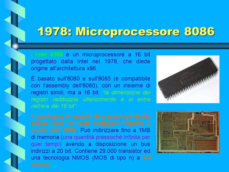 1977: Microprocessore 8085 Dell''8085 veloce ed economico, assieme allo Z-80 della Zilog, con il quale era software compatibile, ne furono venduti qua
