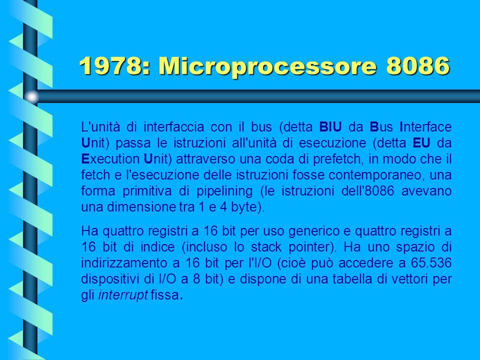 1978: Microprocessore 8086 L'Intel 8086 è un microprocessore a 16 bit progettato dalla Intel nel 1978, che diede origine all'architettura x86. È basat