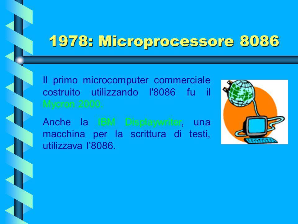 1978: Microprocessore 8086 L'unità di interfaccia con il bus (detta BIU da Bus Interface Unit) passa le istruzioni all'unità di esecuzione (detta EU d