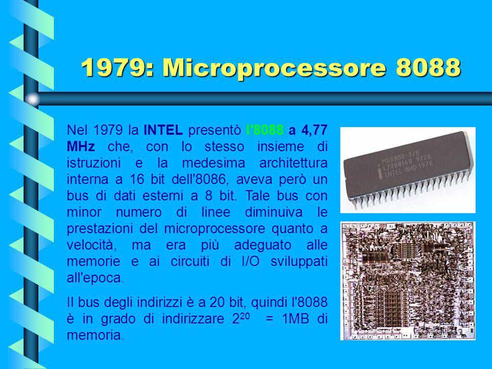 1978: Microprocessore 8086 Il primo microcomputer commerciale costruito utilizzando l'8086 fu il Mycron 2000. Anche la IBM Displaywriter, una macchina