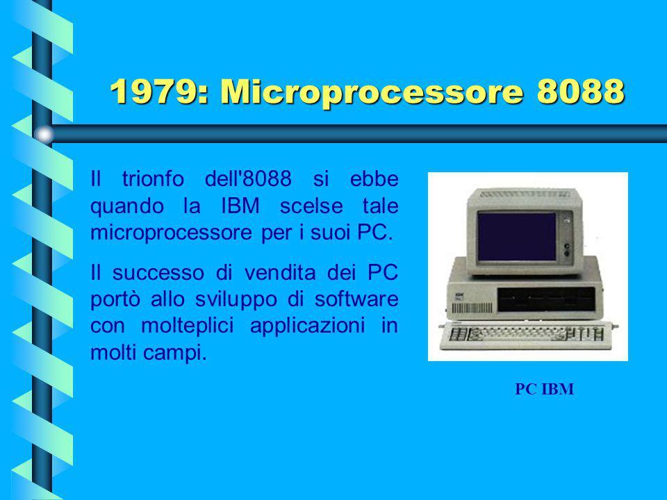1979: Microprocessore 8088 Nel 1979 la INTEL presentò l'8088 a 4,77 MHz che, con lo stesso insieme di istruzioni e la medesima architettura interna a