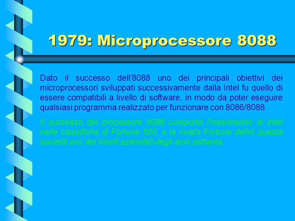 1979: Microprocessore 8088 Il trionfo dell'8088 si ebbe quando la IBM scelse tale microprocessore per i suoi PC. Il successo di vendita dei PC portò a