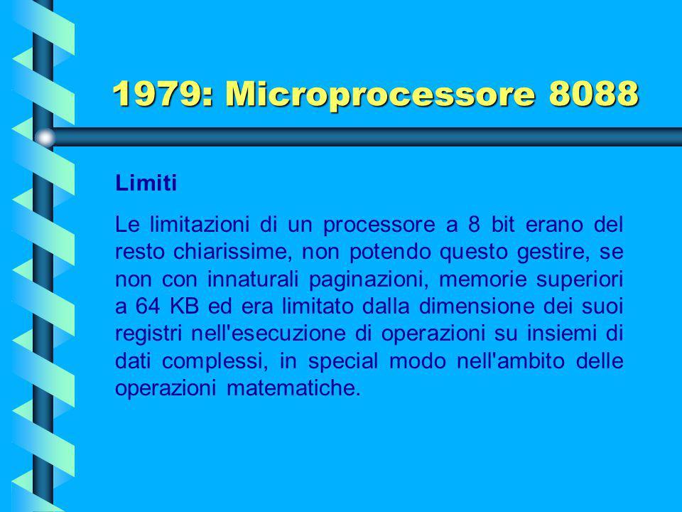 1979: Microprocessore 8088 Dato il successo dell'8088 uno dei principali obiettivi dei microprocessori sviluppati successivamente dalla Intel fu quell