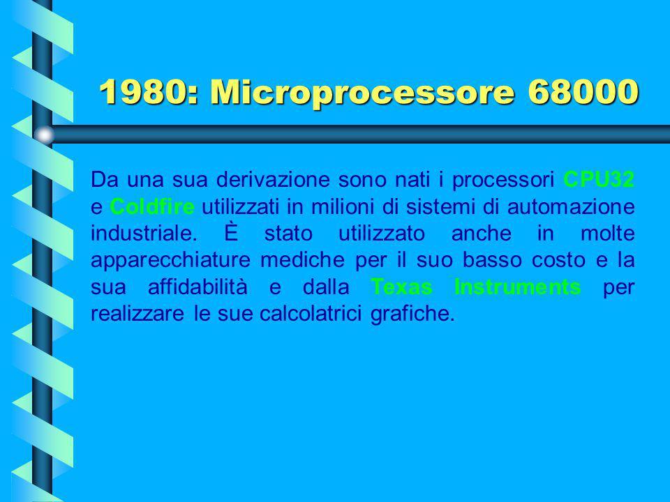1980: Microprocessore 68000 Originariamente il MC68000 è stato progettato per essere un processore per usi generici. È stato utilizzato da diversi pro