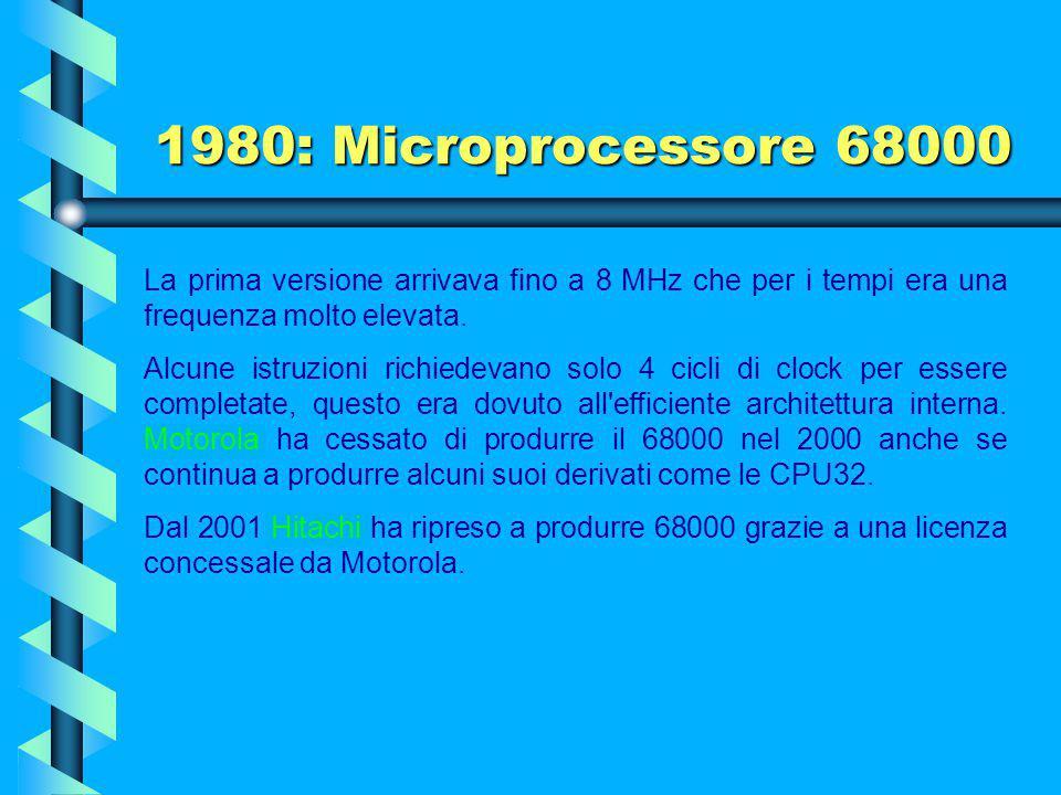 1980: Microprocessore 68000 Da una sua derivazione sono nati i processori CPU32 e Coldfire utilizzati in milioni di sistemi di automazione industriale