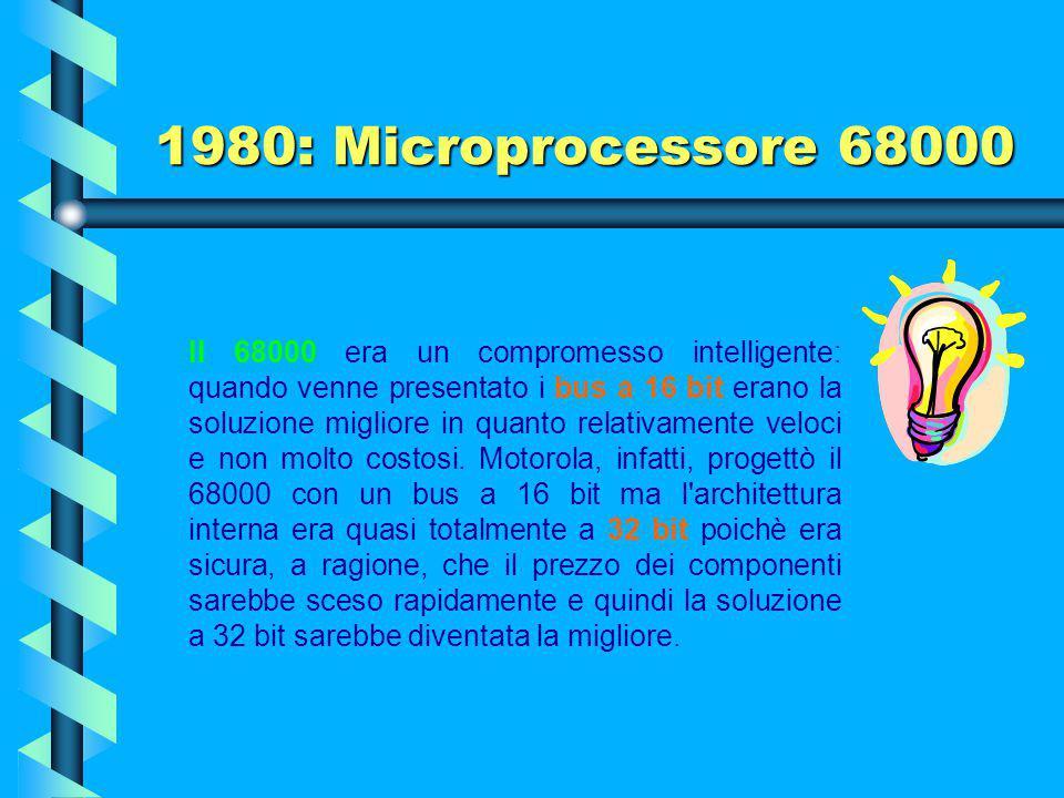 1980: Microprocessore 68000 La prima versione arrivava fino a 8 MHz che per i tempi era una frequenza molto elevata. Alcune istruzioni richiedevano so