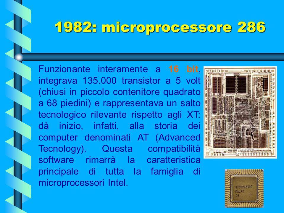 1982: microprocessore 286 Il processore 286, noto anche come 80286, è stato il primo processore Intel e AMD (insieme) che consentiva di eseguire tutto