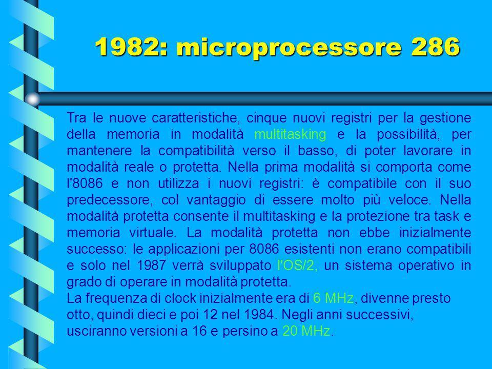 1982: microprocessore 286 Funzionante interamente a 16 bit, integrava 135.000 transistor a 5 volt (chiusi in piccolo contenitore quadrato a 68 piedini