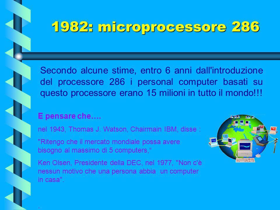 1982: microprocessore 286 Tra le nuove caratteristiche, cinque nuovi registri per la gestione della memoria in modalità multitasking e la possibilità,
