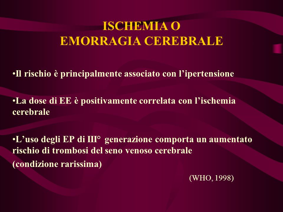 ISCHEMIA O EMORRAGIA CEREBRALE Il rischio è principalmente associato con l'ipertensione La dose di EE è positivamente correlata con l'ischemia cerebra