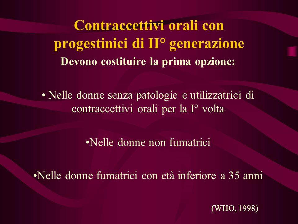 Contraccettivi orali con progestinici di II° generazione Devono costituire la prima opzione: Nelle donne senza patologie e utilizzatrici di contraccet