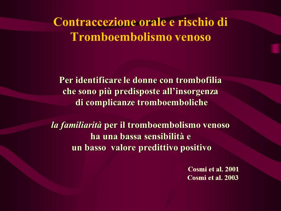 Contraccezione orale e rischio di Tromboembolismo venoso Per identificare le donne con trombofilia che sono più predisposte all'insorgenza di complica