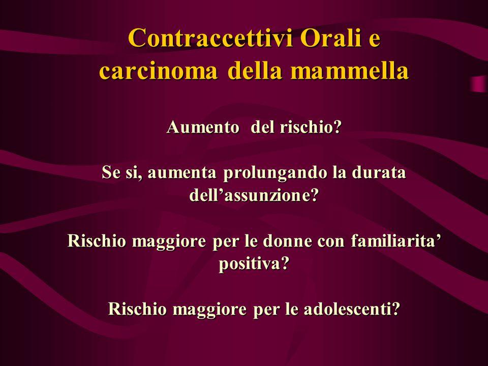Contraccettivi Orali e carcinoma della mammella Aumento del rischio? Se si, aumenta prolungando la durata dell'assunzione? Rischio maggiore per le don