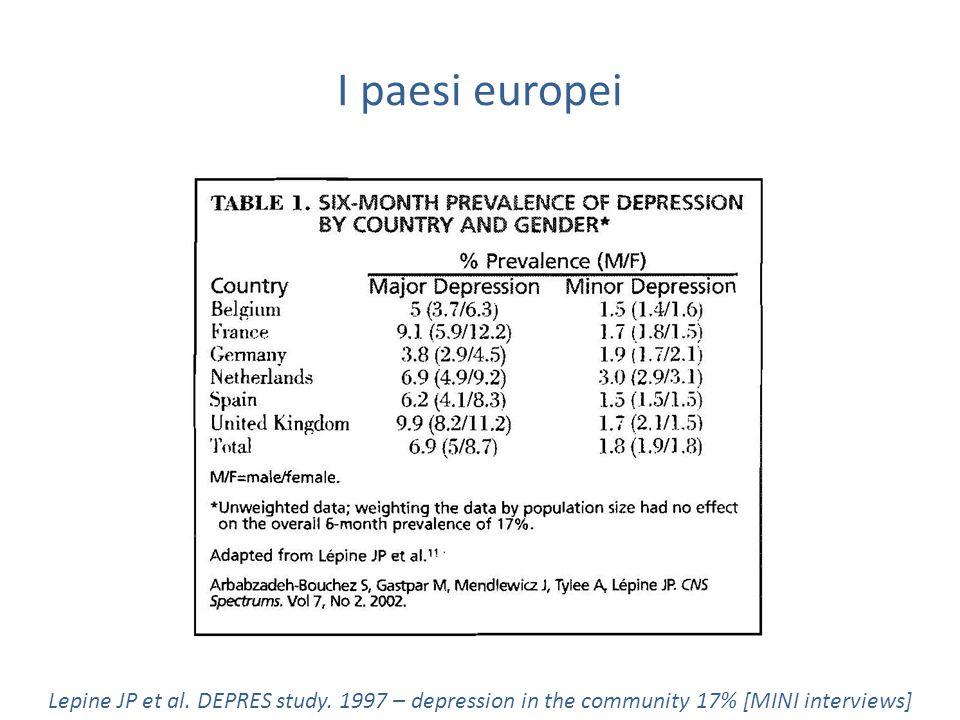 I paesi europei Lepine JP et al.DEPRES study.