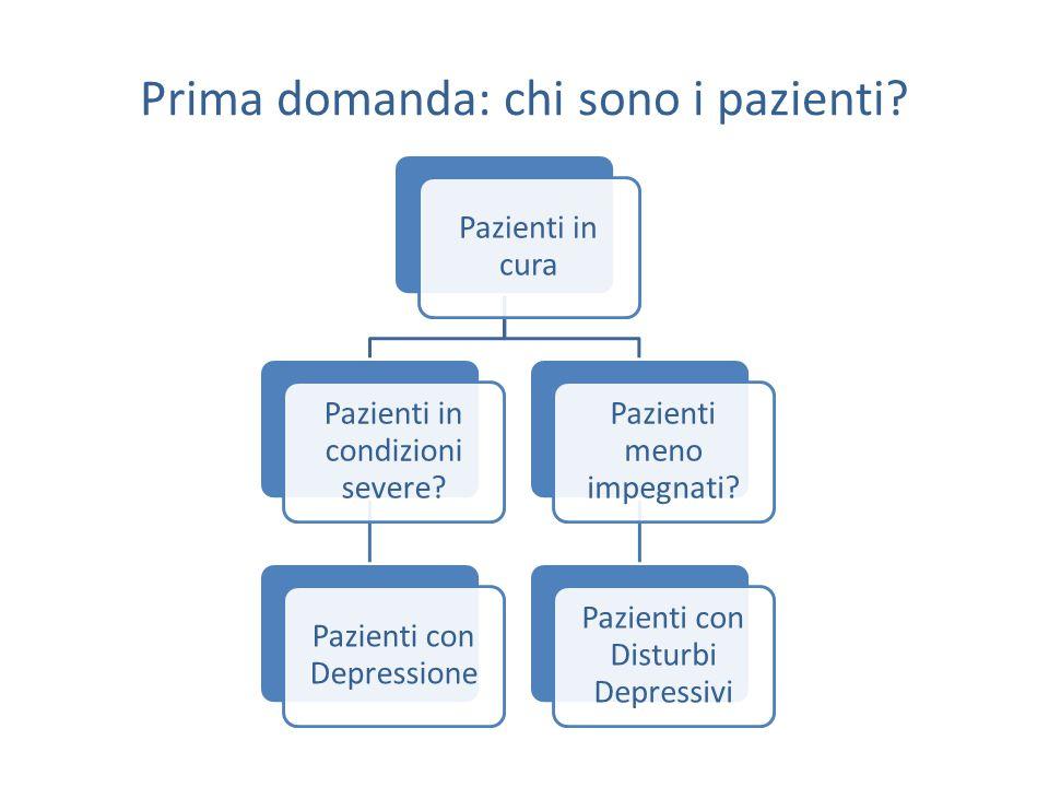 Prima domanda: chi sono i pazienti. Pazienti in cura Pazienti in condizioni severe.