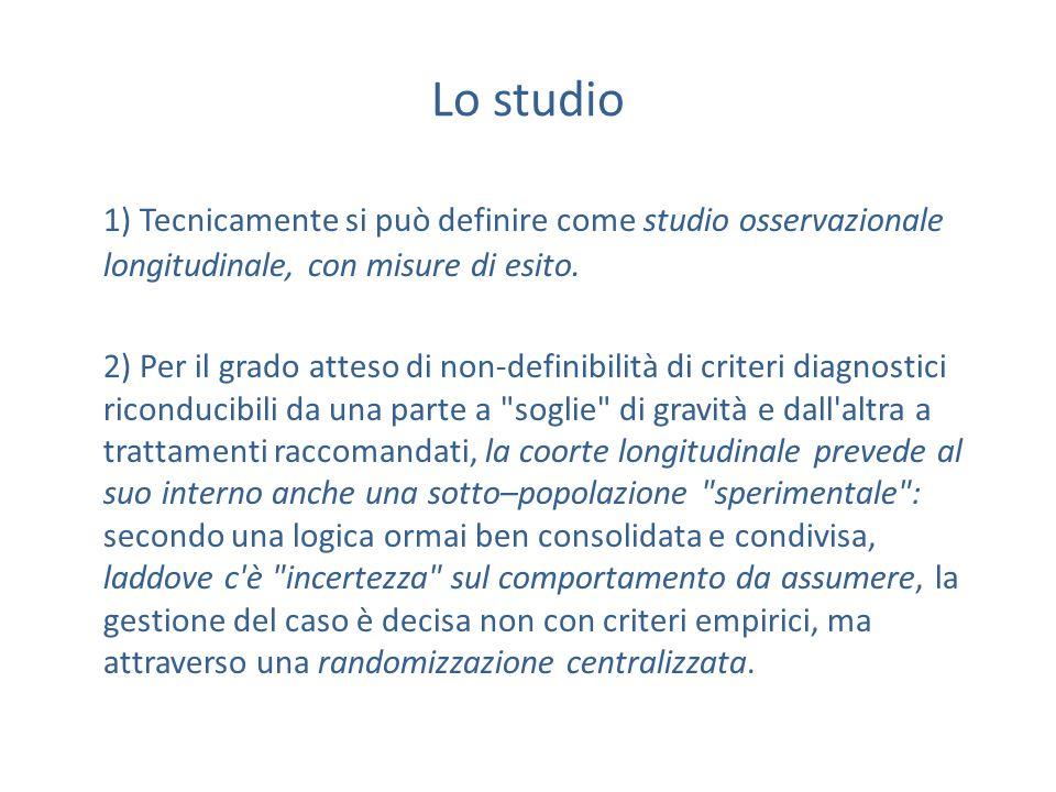 Lo studio 1) Tecnicamente si può definire come studio osservazionale longitudinale, con misure di esito.