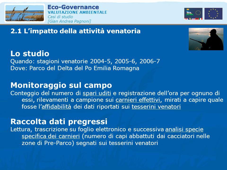VALUTAZIONE AMBIENTALE Casi di studio [Gian Andrea Pagnoni] Lo studio Quando: stagioni venatorie 2004-5, 2005-6, 2006-7 Dove: Parco del Delta del Po E