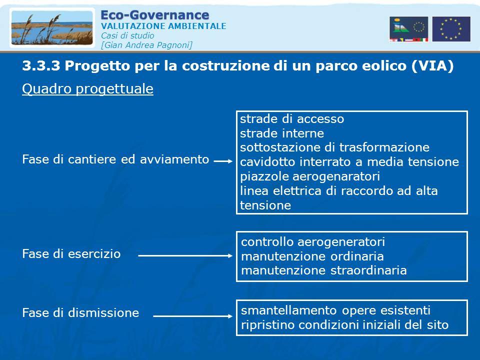 VALUTAZIONE AMBIENTALE Casi di studio [Gian Andrea Pagnoni] Quadro progettuale 3.3.3 Progetto per la costruzione di un parco eolico (VIA) Fase di cant