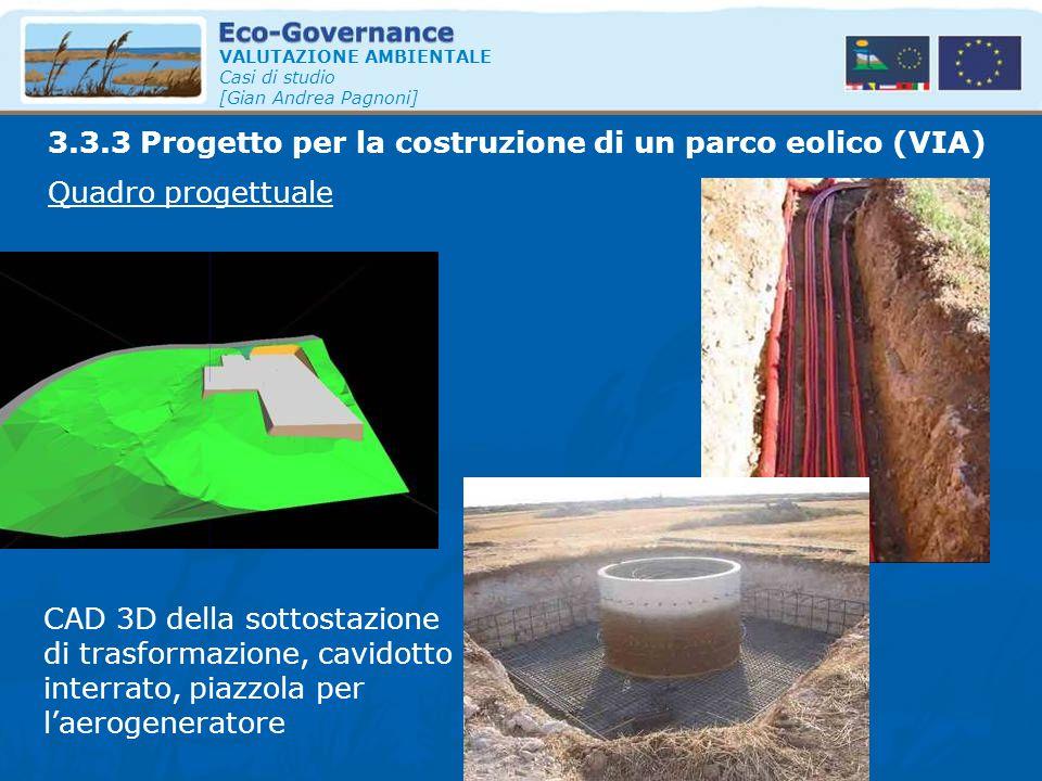 VALUTAZIONE AMBIENTALE Casi di studio [Gian Andrea Pagnoni] Quadro progettuale 3.3.3 Progetto per la costruzione di un parco eolico (VIA) CAD 3D della