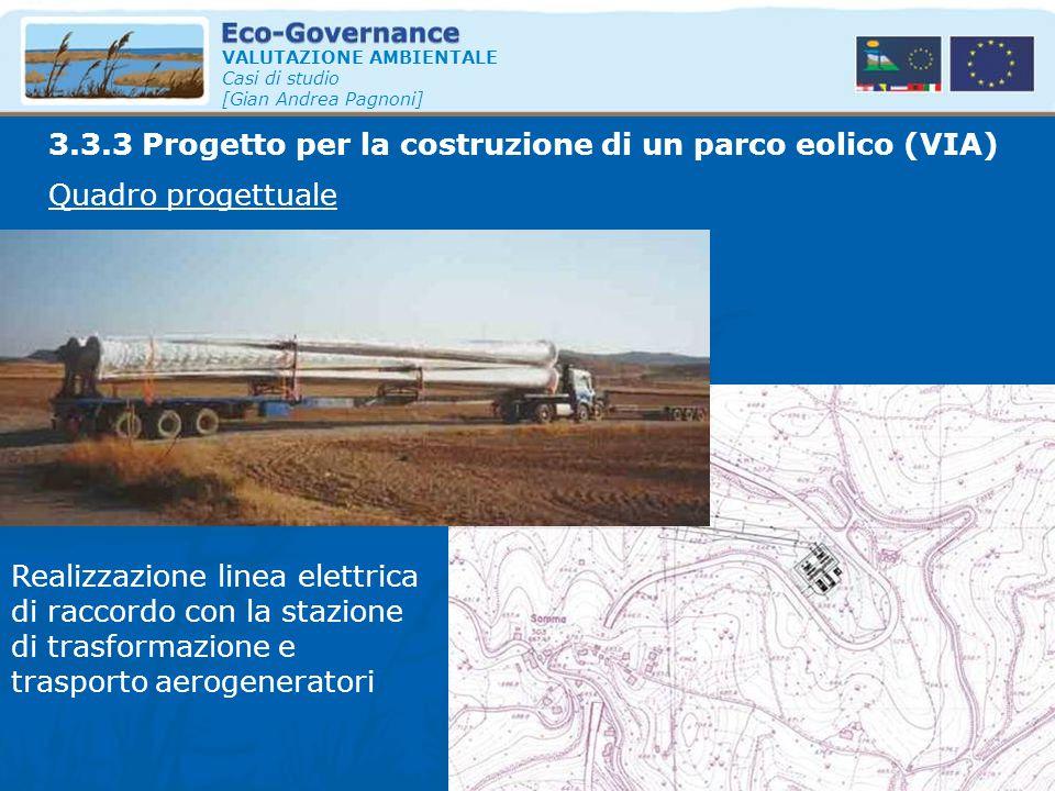 VALUTAZIONE AMBIENTALE Casi di studio [Gian Andrea Pagnoni] Quadro progettuale 3.3.3 Progetto per la costruzione di un parco eolico (VIA) Realizzazion