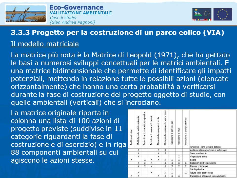 VALUTAZIONE AMBIENTALE Casi di studio [Gian Andrea Pagnoni] Il modello matriciale 3.3.3 Progetto per la costruzione di un parco eolico (VIA) La matric