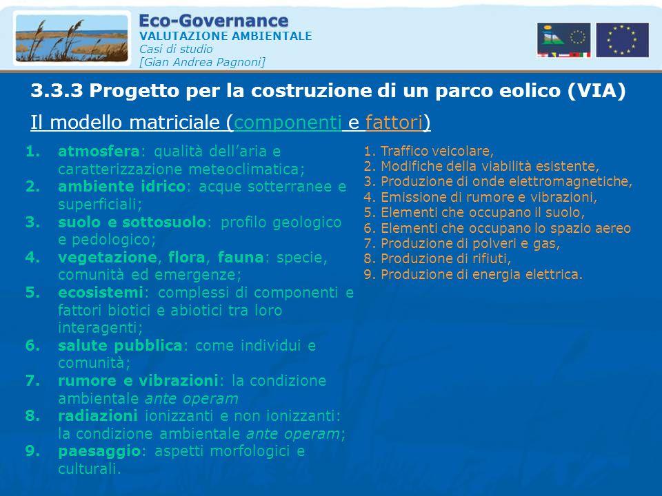 VALUTAZIONE AMBIENTALE Casi di studio [Gian Andrea Pagnoni] Il modello matriciale (componenti e fattori) 3.3.3 Progetto per la costruzione di un parco