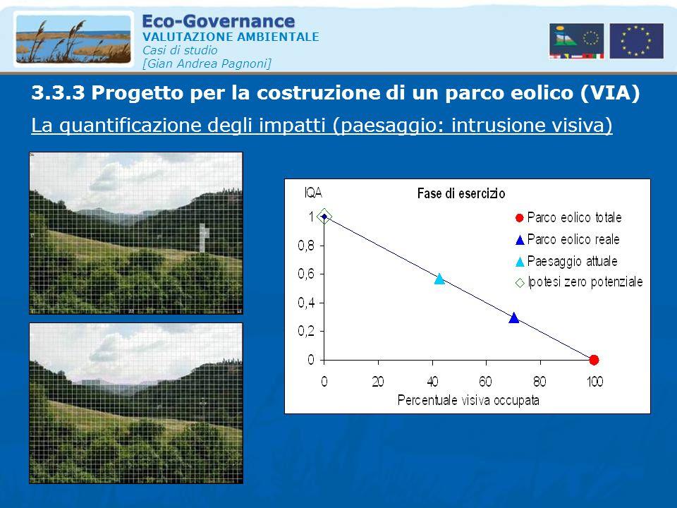 VALUTAZIONE AMBIENTALE Casi di studio [Gian Andrea Pagnoni] La quantificazione degli impatti (paesaggio: intrusione visiva) 3.3.3 Progetto per la cost
