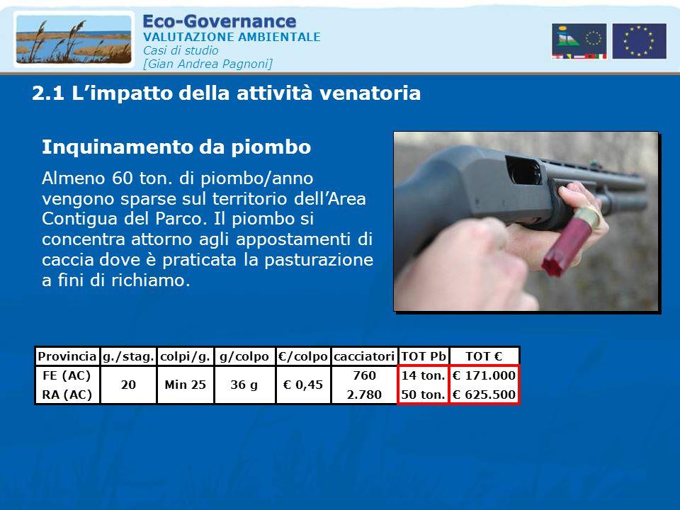 VALUTAZIONE AMBIENTALE Casi di studio [Gian Andrea Pagnoni] 2.1 L'impatto della attività venatoria Inquinamento da piombo Almeno 60 ton. di piombo/ann
