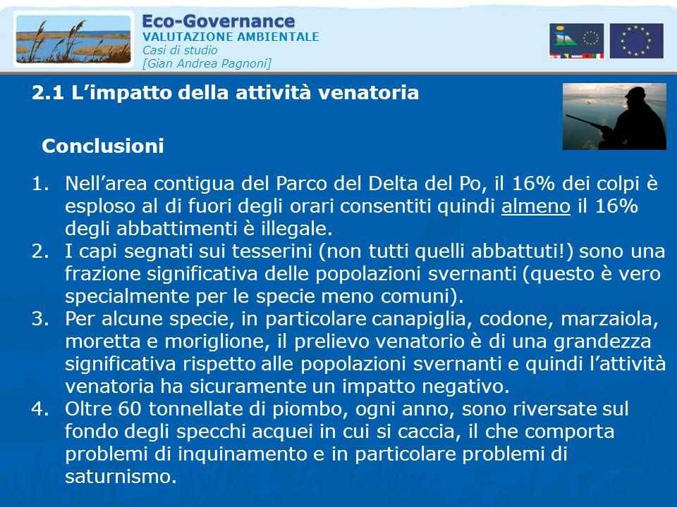 VALUTAZIONE AMBIENTALE Casi di studio [Gian Andrea Pagnoni] 2.1 L'impatto della attività venatoria Conclusioni 1.Nell'area contigua del Parco del Delt