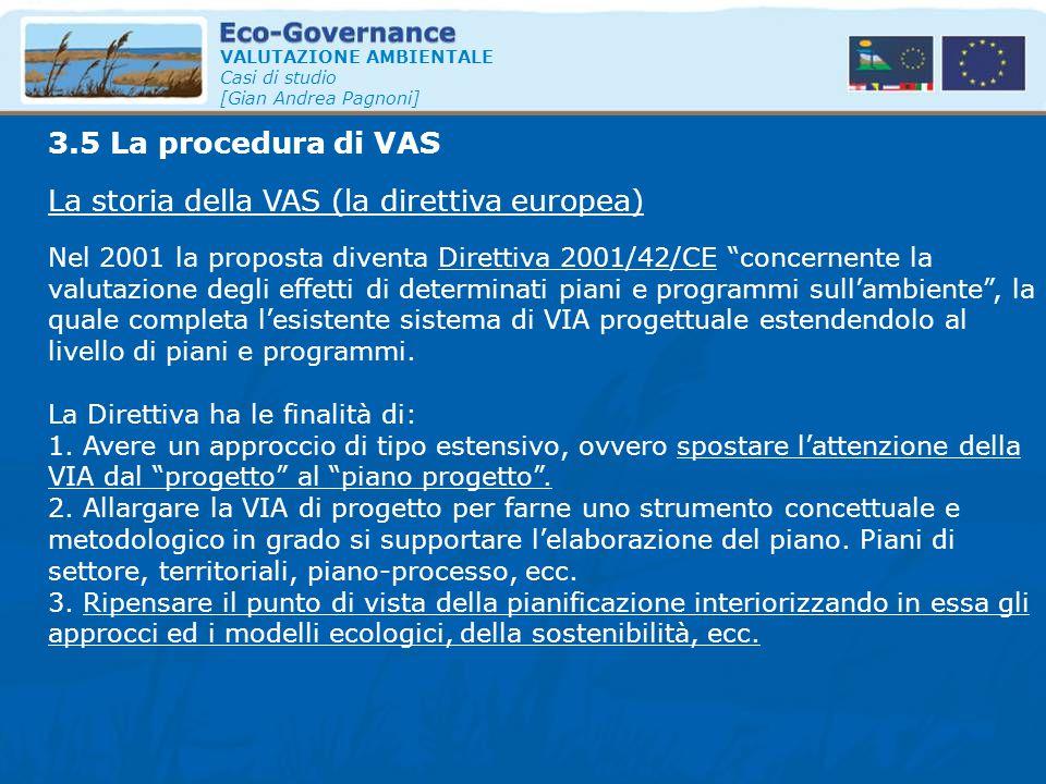 VALUTAZIONE AMBIENTALE Casi di studio [Gian Andrea Pagnoni] La storia della VAS (la direttiva europea) 3.5 La procedura di VAS Nel 2001 la proposta di