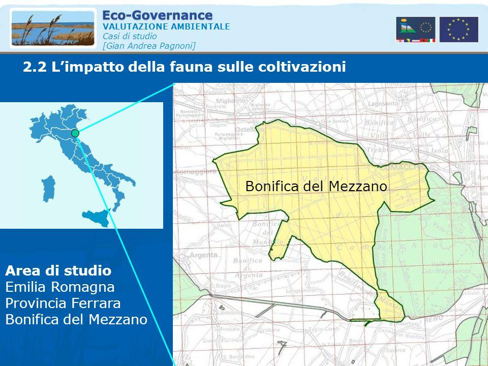 2.2 L'impatto della fauna sulle coltivazioni VALUTAZIONE AMBIENTALE Casi di studio [Gian Andrea Pagnoni] Area di studio Emilia Romagna Provincia Ferra