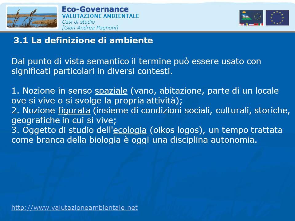 3.1 La definizione di ambiente VALUTAZIONE AMBIENTALE Casi di studio [Gian Andrea Pagnoni] Dal punto di vista semantico il termine può essere usato co