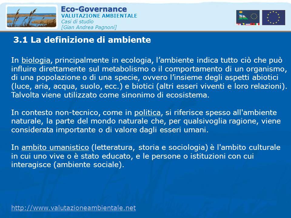 3.1 La definizione di ambiente VALUTAZIONE AMBIENTALE Casi di studio [Gian Andrea Pagnoni] In biologia, principalmente in ecologia, l'ambiente indica