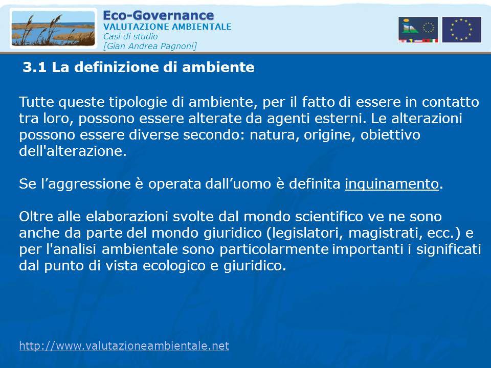 3.1 La definizione di ambiente VALUTAZIONE AMBIENTALE Casi di studio [Gian Andrea Pagnoni] Tutte queste tipologie di ambiente, per il fatto di essere