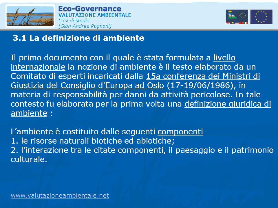 3.1 La definizione di ambiente VALUTAZIONE AMBIENTALE Casi di studio [Gian Andrea Pagnoni] Il primo documento con il quale è stata formulata a livello