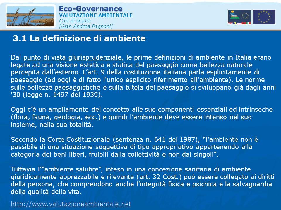 3.1 La definizione di ambiente VALUTAZIONE AMBIENTALE Casi di studio [Gian Andrea Pagnoni] Dal punto di vista giurisprudenziale, le prime definizioni