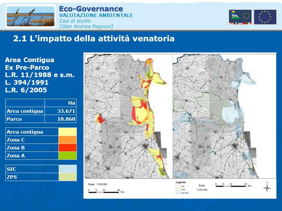 2.1 L'impatto della attività venatoria VALUTAZIONE AMBIENTALE Casi di studio [Gian Andrea Pagnoni] Ha Area contigua33.671 Parco18.860 Area Contigua Ex