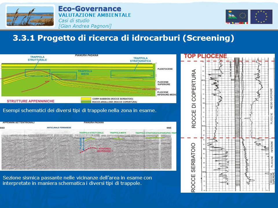 VALUTAZIONE AMBIENTALE Casi di studio [Gian Andrea Pagnoni] Esempi schematici dei diversi tipi di trappole nella zona in esame. Sezione sismica passan