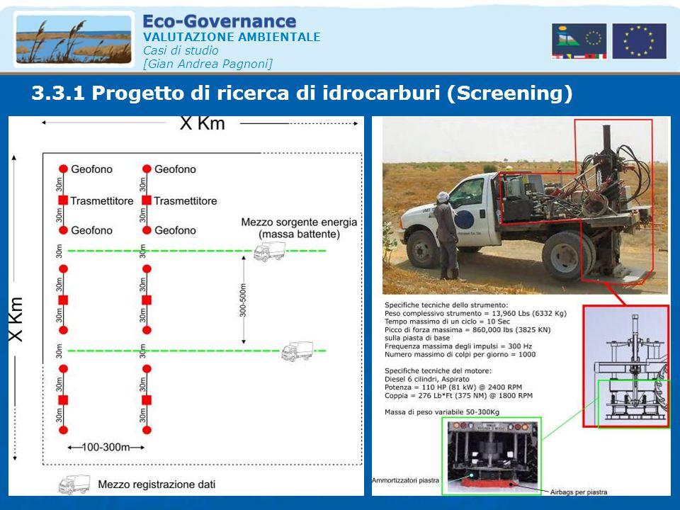 VALUTAZIONE AMBIENTALE Casi di studio [Gian Andrea Pagnoni] 3.3.1 Progetto di ricerca di idrocarburi (Screening)