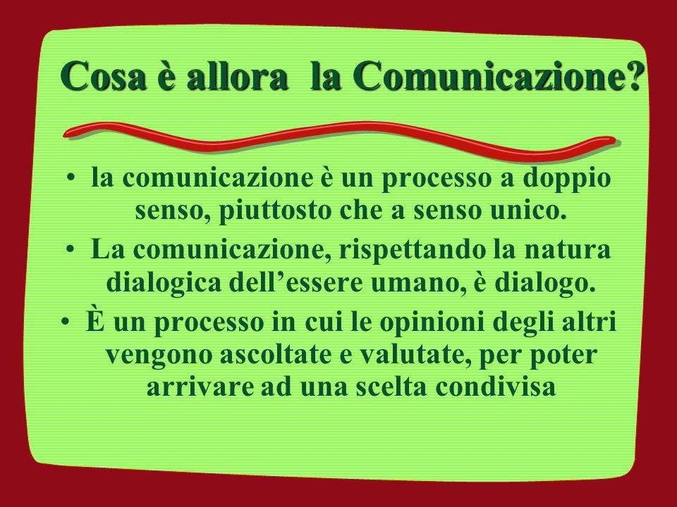 Cosa è allora la Comunicazione? la comunicazione è un processo a doppio senso, piuttosto che a senso unico. La comunicazione, rispettando la natura di